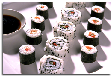 Sushi with umeboshi plum paste